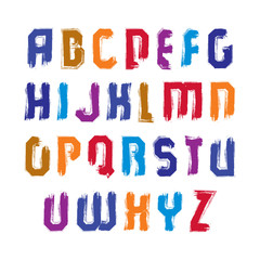 Handwritten contemporary vector uppercase letters, doodle hand-p