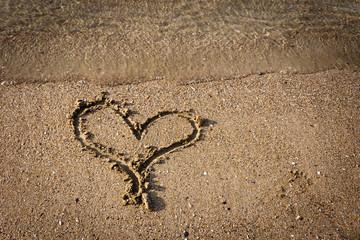 heart on sand beach
