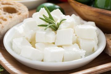 Fresh feta cheese, close-up
