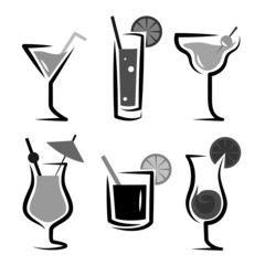 Different kinds of glasses with aperitifs