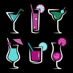 set of cocktails soft and long-drinks