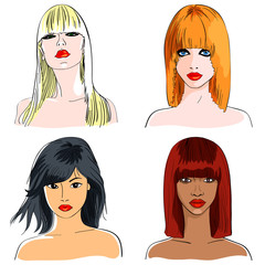 vector set blond and foxy caucasian, asian and african girls