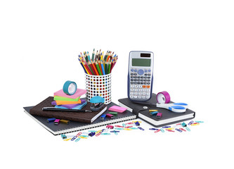 School and office supplies isolated on white background