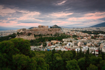 Evening view of Acropolis in Athens from Filopappou Hill.