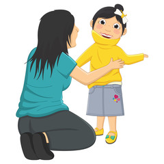Vector Illustration Of Mum Helping Daughter Wearing
