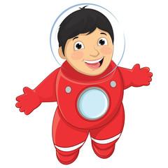 Boy Astronaut Vector Illustration