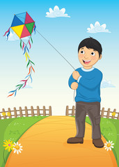 Boy and Kite Vector Illustration