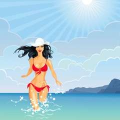 Vector brunette Girl and the Sea