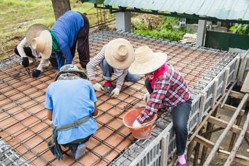 Worker bending steel