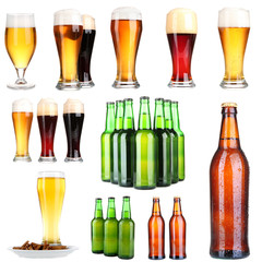 Beer collage, isolated on white