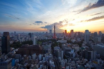 Tokyo city and tokyo tower at sunset time