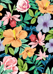 seamless tropical flowers pattern
