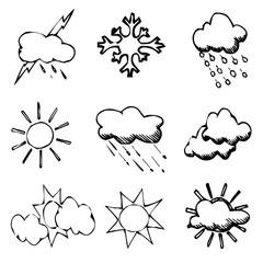 clouds, sun, weather, vector