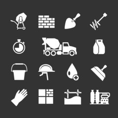 Set icons of cement and concrete