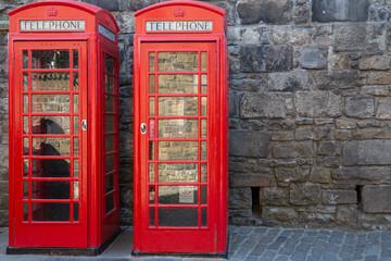 Classic red British telephone box
