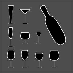 glass and bottle set. Vector illustration