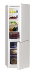 Open refrigerator with food.