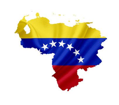 Map of Venezuela with waving flag isolated on white