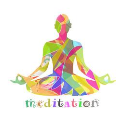silhouette composta da colori che medita