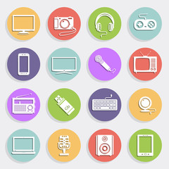 Technology and multimedia icons, flat design vector
