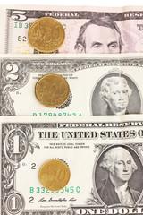 Dollar bills and coins close-up