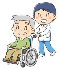 車椅子に乗るおじいちゃん