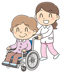 車椅子に乗るおばあちゃん