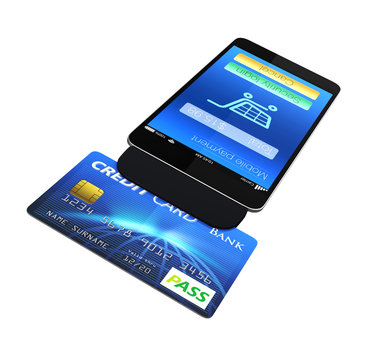 Credit card reader on smart phone for mobile payment  concept