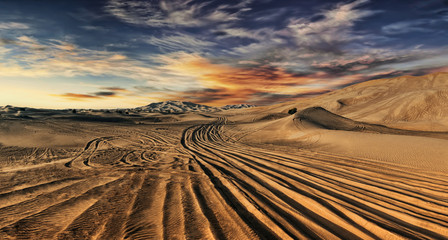 Fotorolgordijn Zandwoestijn Dubai desert with beautiful sandunes during the sunrise