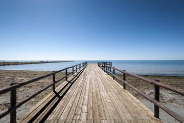 Wooden walkway in Santa Pola, Alicante, Spain