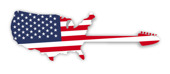 American flag in USA guitar map