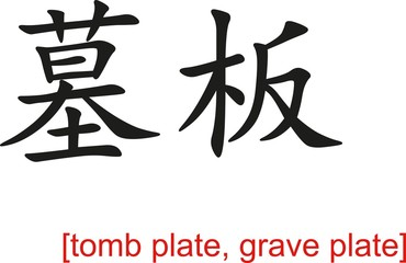 Chinese Sign for tomb plate, grave plate