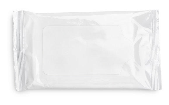 Wet wipes package with flap isolated on white background