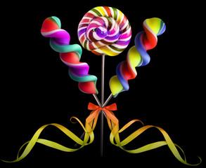 Bright colorful lollipop over black background