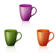 three colorful cups with reflection and shadow