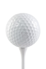 golf ball on a stand isolated on white background macro