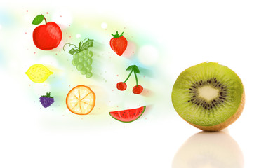 Colorful fruits with hand drawn illustrated fruits