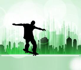 Skateboarder. City sport