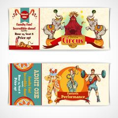 Circus vintage tickets set