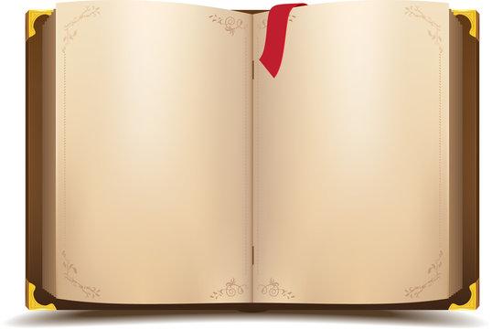 Old open magic book