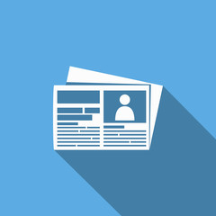 newspaper icon with long shadow