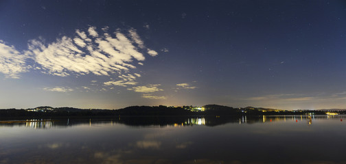 Varese Lake, night landscape from Schiranna