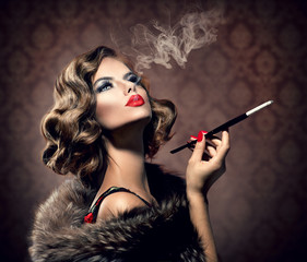 Retro Woman with Mouthpiece. Vintage Styled Beautiful Lady
