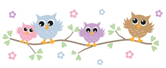 colorful owls header banner