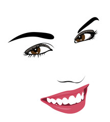Happy smiling woman. Outline simple layered vector illustration.