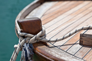 Rope on a wooden boat deck