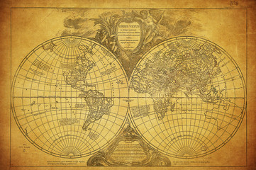 vintage map of the world 1752