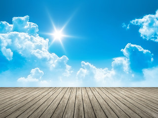 Wall Mural - wooden jetty blue sky sun