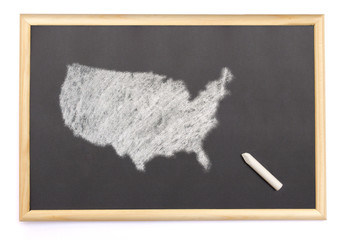 Blackboard with a chalk and the shape of USA drawn onto. (series