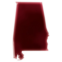 A pool of blood (or wine) that formed the shape of Alabama. (ser